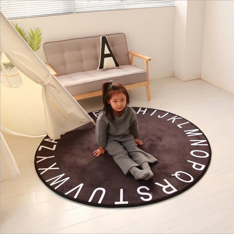 Alfombras redondas de la serie Negro Nórdico para sala de estar, silla de ordenador, Alfombra de área, Alfombra de piso de tienda, alfombras para vestidor y alfombra