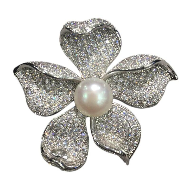Broche de perla natural de agua dulce pins flor circonita cúbica joyería de moda para mujeres envío gratis