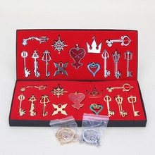 2Style 13pcs/set Kingdom Hearts Cosplay Necklace Sora Keyblade Keychain Metal Figure Toy Pendants