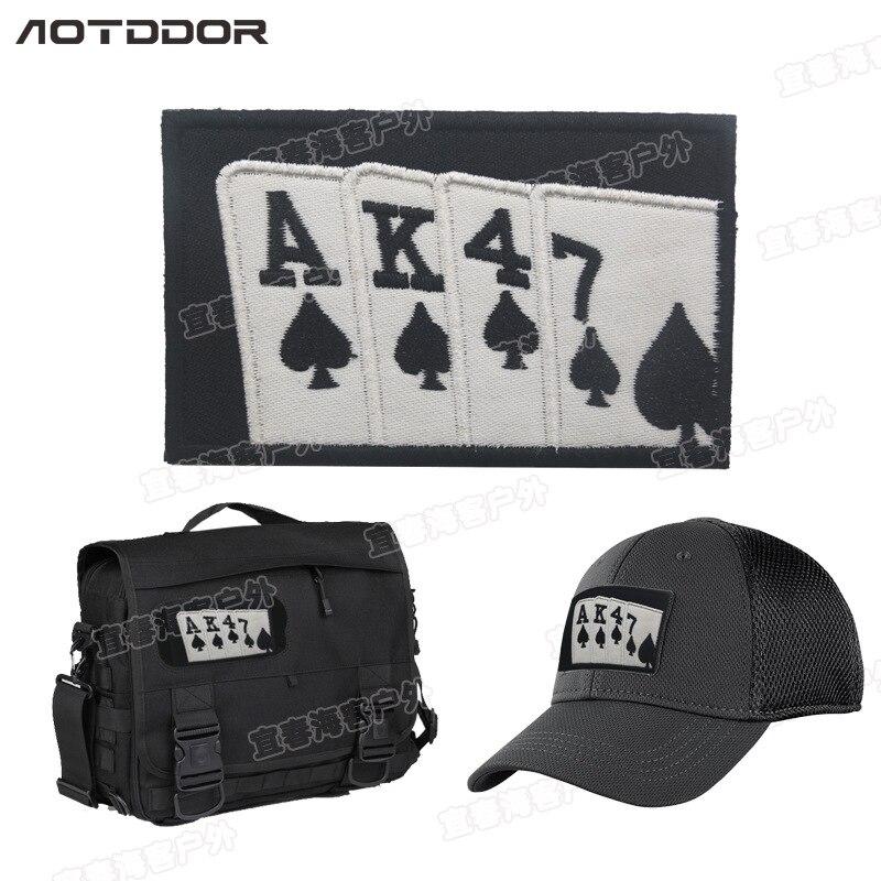 AK47 Jogando Cartas Patches Moral de Loop Gancho Bandeira listras AK 47 emblemas diy remendo militar