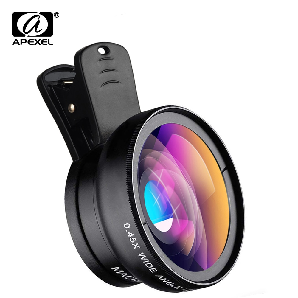 APEXEL Phone Lens kit 0.45x Super Wide Angle & 12.5x Super Macro Lens HD Camera Lentes for iPhone 6S 7 Xiaomi more cellphone