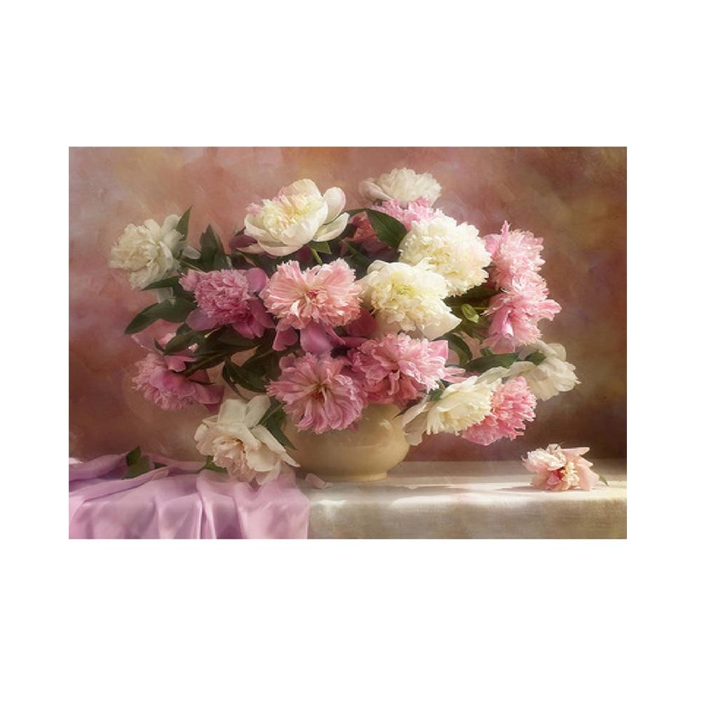 Rosa pintura de flores, diamantes Cruz puntada DIY 5D pintura diamante bordado patrones diamantes de imitación mosaico Cruz cuadro de pared