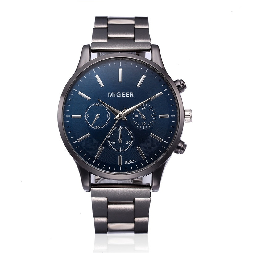 New Arrival 2020 Fashionable MiGEER Men Crystal Stainless Steel Analog Quartz Wrist Watch Bracelet W