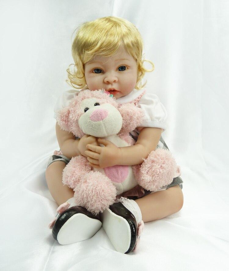 "22"" Soft Vinyl Blue Eyes Reborn Baby Doll Birthday Gift Doll with Blonde Short Hair Babies Playmate Accompany Sleeping Toys"