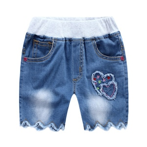 Baby Girls Shorts Jeans 2017 Summer Children Kids Denim Shorts for Girls Clothes  Love  Embroidery Toddler Trousers Short
