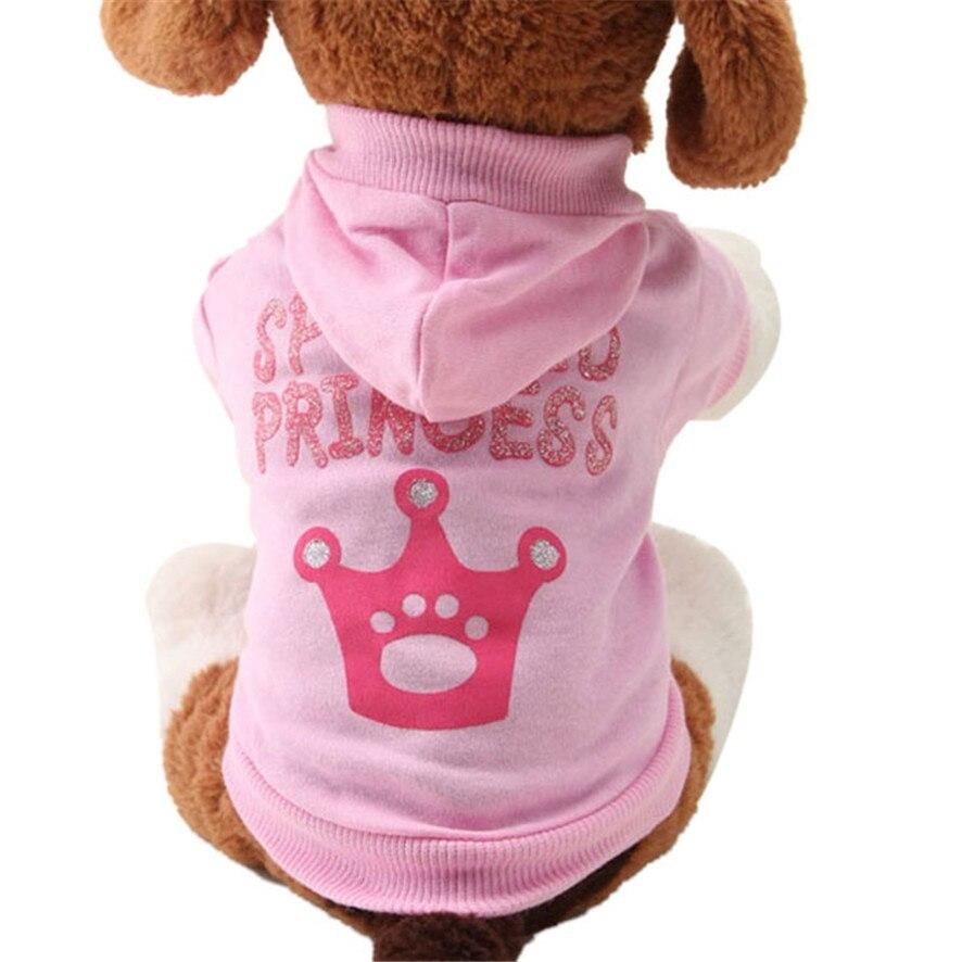 Zero 2017 nueva ropa rosa de perro mascota patrón corona cachorro ropa Abrigo con capucha Camiseta de algodón compra nuevo B7718