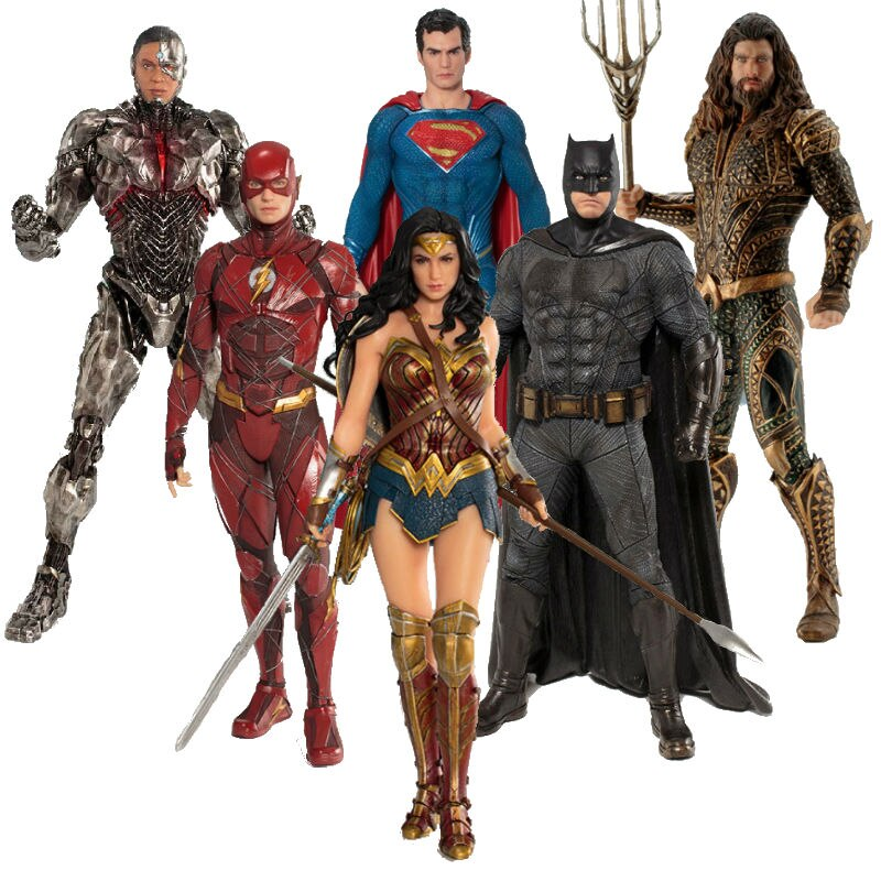 Kotobukiya Original ARTFX+ DC Justice League Super Hero Action Figures Batman Wonder Woman Cyborg The Flash Superman Model Toys