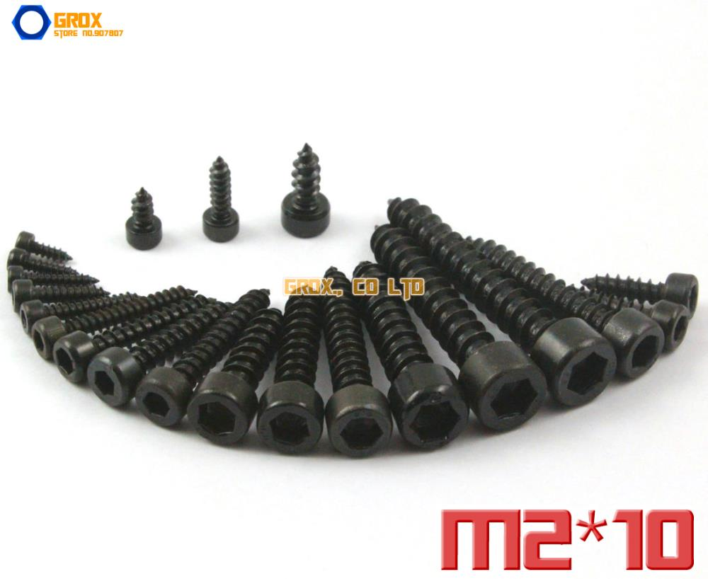 200 piezas M2 x 10mm 8,8 Grado de aleación de acero hexagonal cabeza del casquillo del enchufe tornillo de autorroscante modelo de tornillo