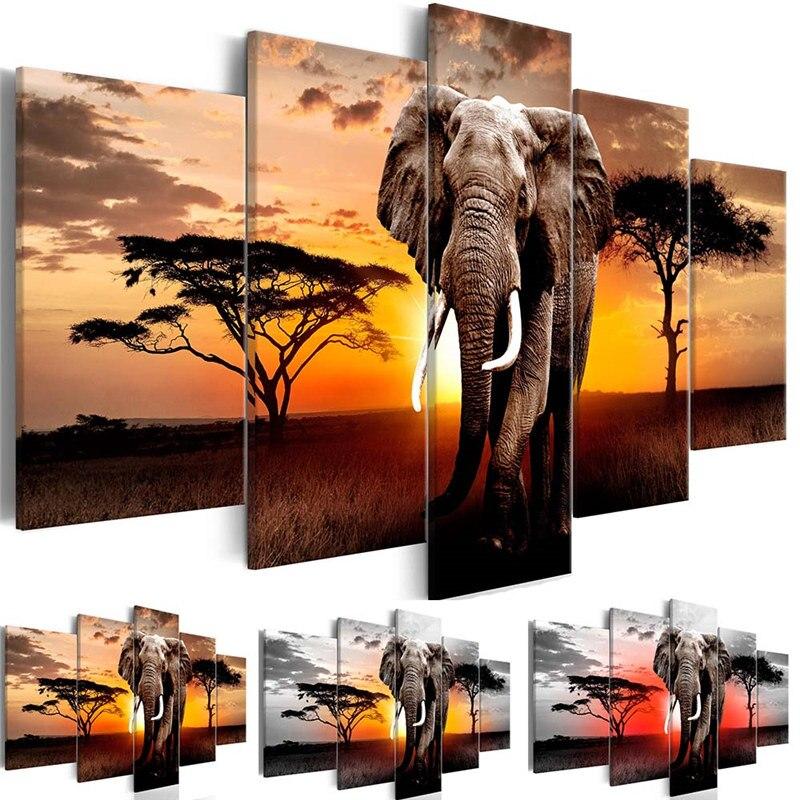 Telas com imagens para decoração de casa, arte de 1 peça para caminhada, elefante, pôster de parede africano, pinturas de paisagem, sala de estar