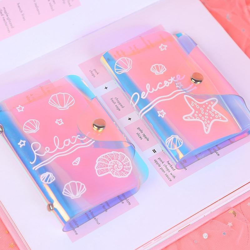 Cartoon Laser Ocean Card ID Holders Kawaii Travel Small Bank Bus Credit Card Holder Keyring Key Girl Wallet Chain Case Women