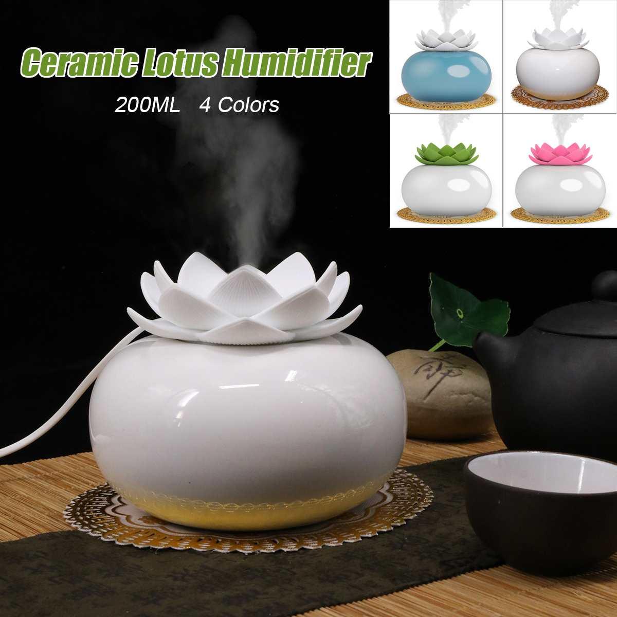 200ML Lotus Ceramic Ultrasonic Aroma Humidifier Air Diffuser Simplicity Lotus Shape Purifier Atomizer Essential Oil Diffuser