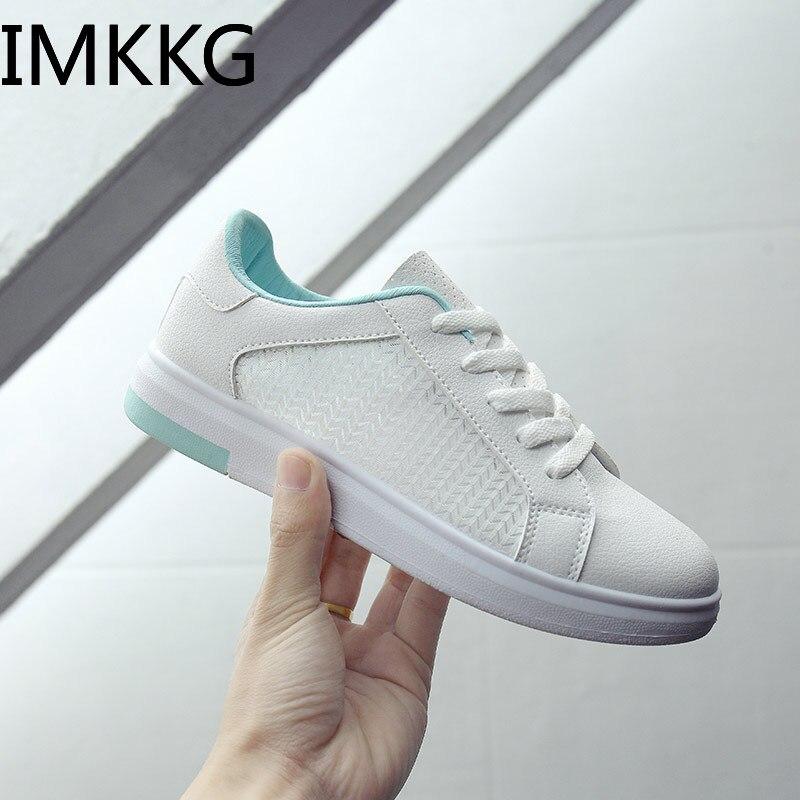 Novedad de verano primavera 2019, zapatillas de deporte para mujer, zapatos informales de malla con cordones, zapatos blancos A00240