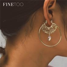 Moda złoty kolor Hollow filigran okrągłe koło kolczyki geometryczne kolczyki Hoop kolczyki dla kobiet dziewczyn Brinco Argola
