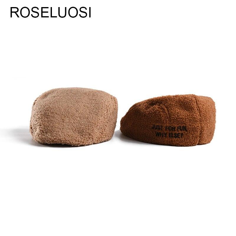 Gorro roseloosi para Mujer, Otoño Invierno, piel, Bordado De letras, sombrero para Mujer, Color sólido, boinas cálidas, sombreros, Viceras De Mujer