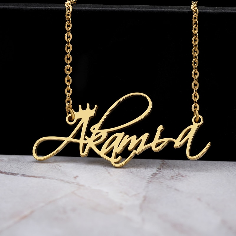 Custom Crown Name Necklace Personalized Jewelry Silver Rose Gold Stainless Steel Nameplate Choker Necklace Women Bridesmaid Gift wholesale rose name necklace with crystal decoration personalized silver nameplate pendent celebrity party jewelry gift