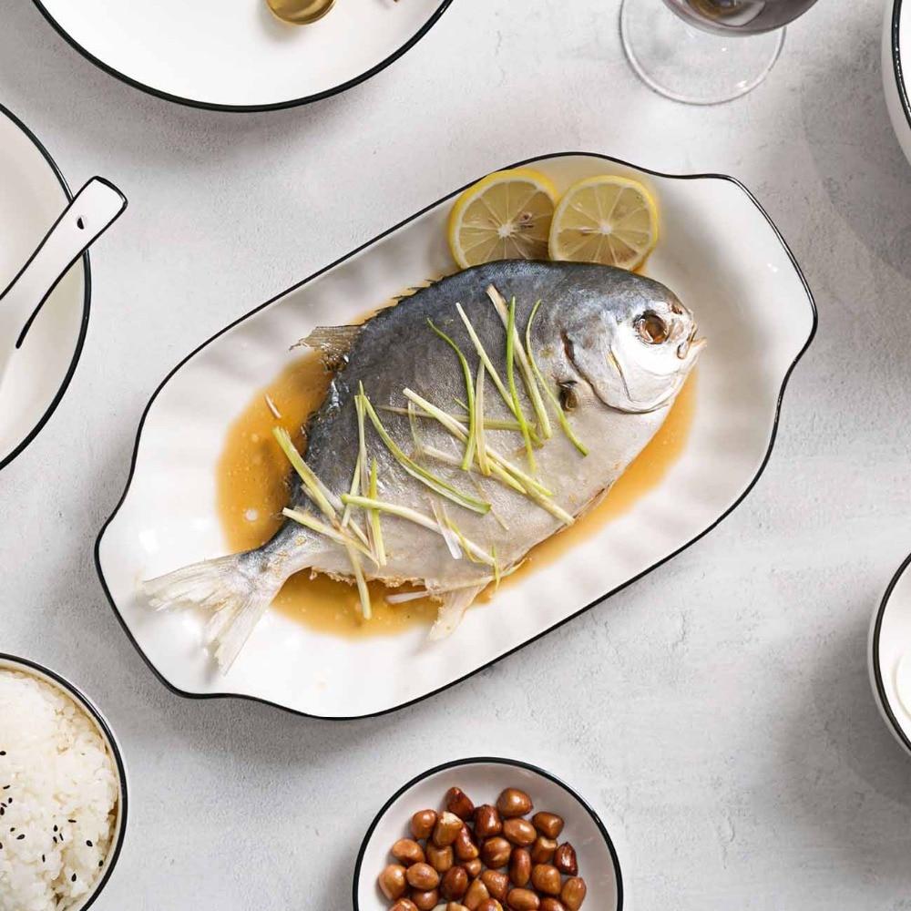 OTHERHOUSE Rectangle Ceramic Dinner Plates Fruit Fish Dish Sushi Plate Tableware Salad Dishes Cake Plate China Dinnerware Simple