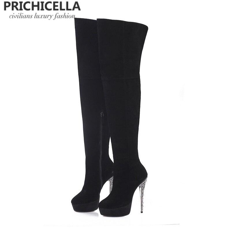 Черные замшевые сапоги на шпильках PRICHICELLA, высокие сапоги из натуральной кожи на платформе, с блестками, size34-42