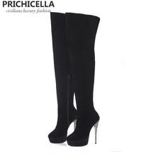 PRICHICELLA black suede glitter stiletto heel platform thigh high boots genuine leather long boots size34-42