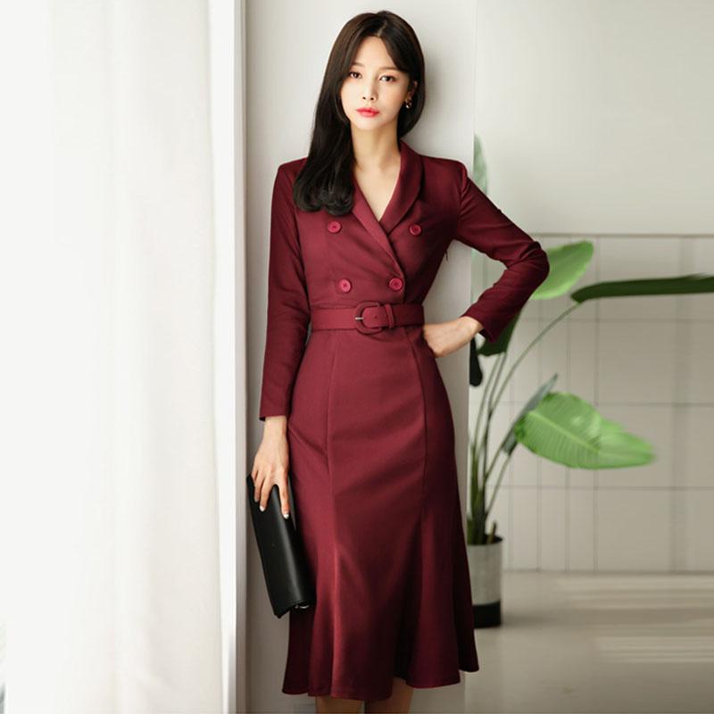 OL Style Wine Red Women Dress Elegant Double Breasted Sashes Female Vestidos 2018 V-neck Mid-length Wear to Business Dress