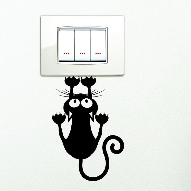 Pegatina negra con bonito interruptor con diseño de gato para dormitorio, pegatinas decorativas para pared, pegatinas de vinilo resistentes al agua 2SS0022