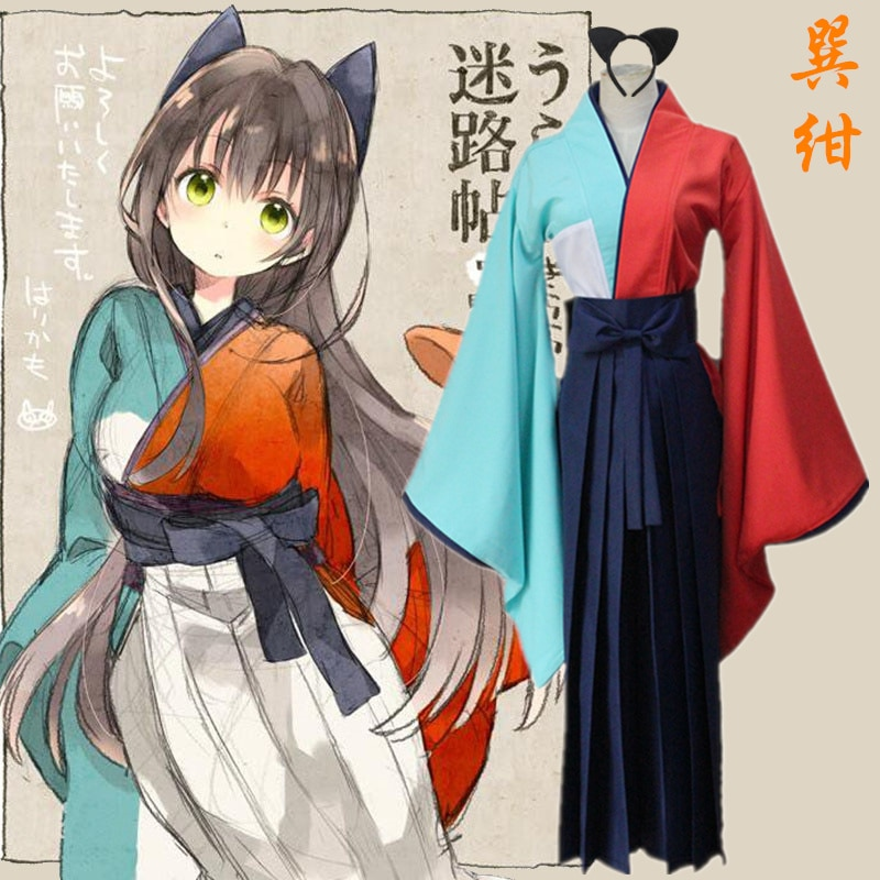 Envío Gratis Anime japonés Urara cosplay tatsumi kon cos disfraz Halloween kimono conjunto completo 3 en 1 (top + Pantalones + tocado)