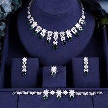 Jankelly Nigeria 4 Uds. Zirconia nupcial para las mujeres de fiesta de lujo Dubai collar pendientes anillos de cristal CZ para bodas conjuntos de joyería