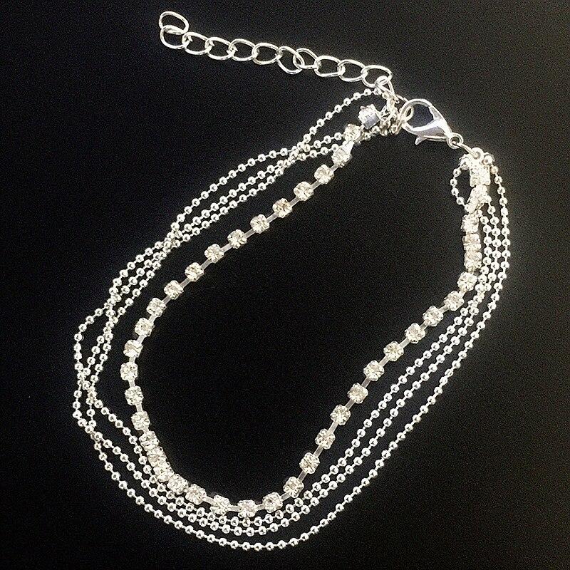 Amuleto de diamantes de cristal gota pulsera Cadena de tobillo tobillera joyería de boda ns242