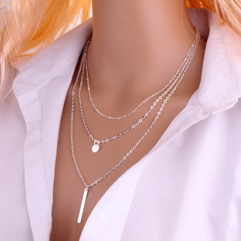 Gargantilla collar de moda color oro 3 capas cadena collar hueco triángulo collares con colgantes largos Bisutería