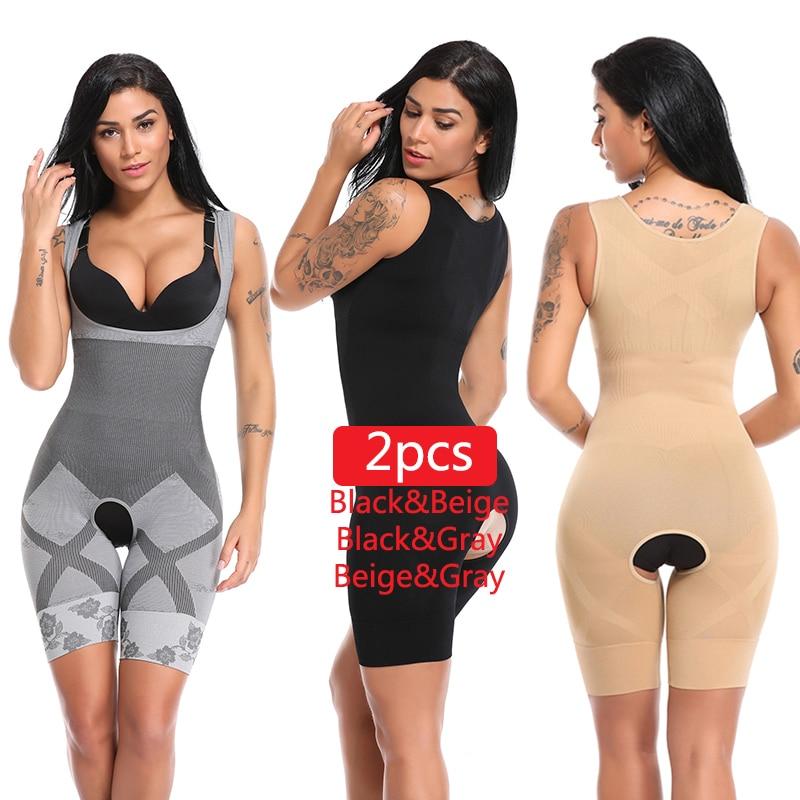 2PCS Women Full Body Shaper Waist Trainer Girdle Thigh Reducer Bodysuit Shapewear Corset Slimming Suits Body Shaper Charcoal
