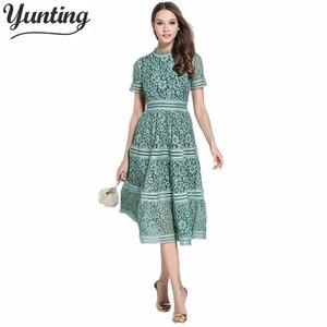 2021 Women High Quality Luxury Runway New fashion elegant vestidos Summer Lace Patchwork Dress