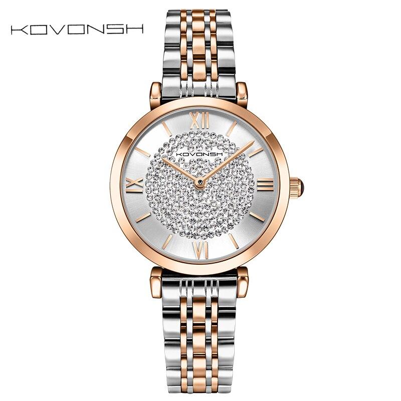 KOVONSH נירוסטה נשים שעונים יהלומי גברת שעון קוורץ שעון יד אופנה שמלת נשים שעון מתנת הווה Dropshipping