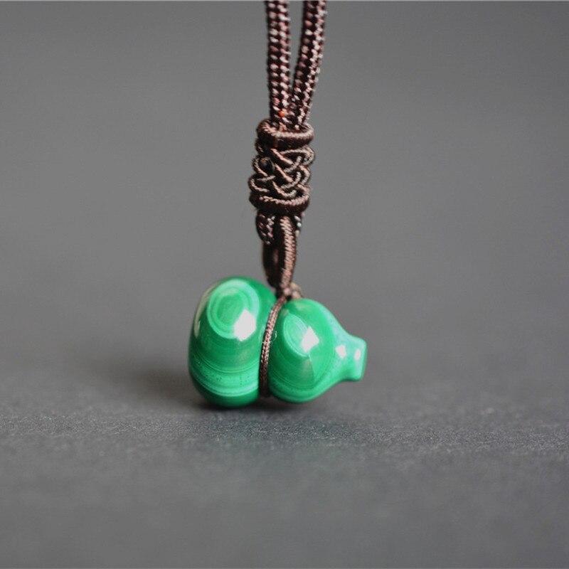 QIANXU, collar de malaquita Real, colgante de calabaza pequeña, colgante de Jade VERDE de la suerte, joyería de Jade, joyería fina
