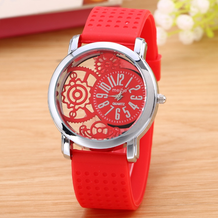Top Brand Hollow black and white Alloy silicone Belt Watches Lover Quartz Wristwatches Fashion Men Women Wrist Watch Clock Relog