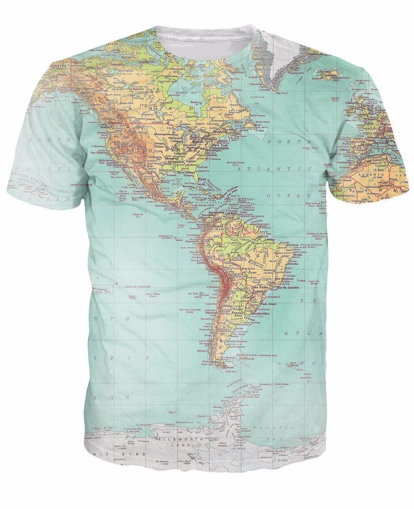 Mapa del mundo camiseta Urban Threads Hipsters retro globo imagen de las Américas sexy 3d manga corta Camiseta vibrante camisetas mujeres hombres