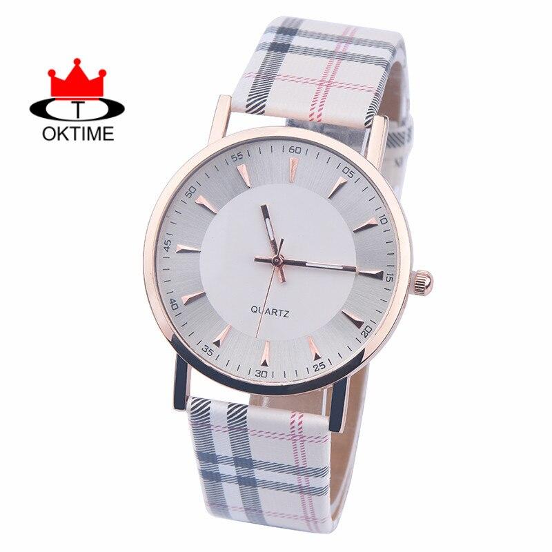Envío gratis por DHL, 100 unids/lote, relojes de cuarzo de marca OKTIME, reloj de pulsera informal de cuero para hombre