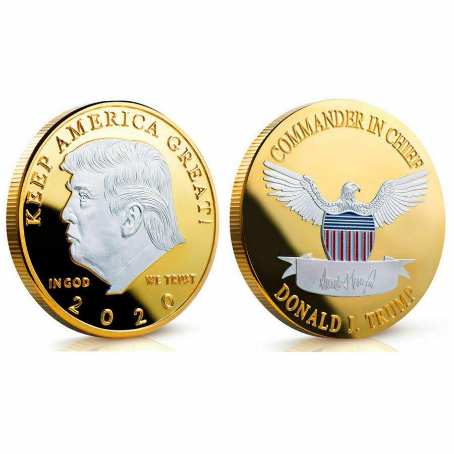 Donald J Trump Von UNS Präsident Donald Trump Silber Gold Überzogene ADLER Gedenkmünze