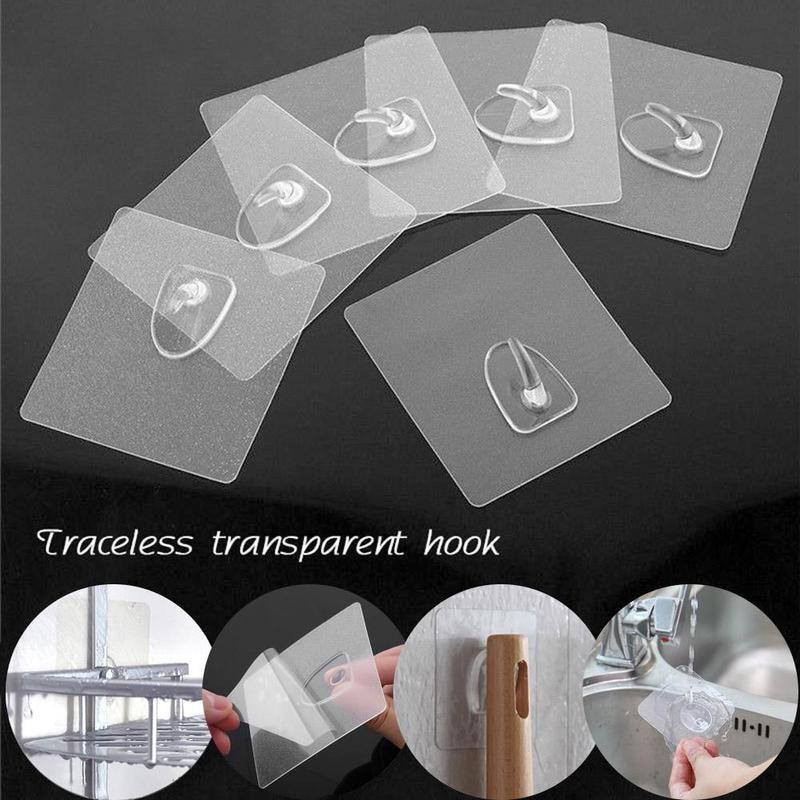 5 / 10pcs transparente starke selbstklebende Türwandhalter Haken zur Aufbewahrung, Aufhängen von Küchen- und Badzubehör