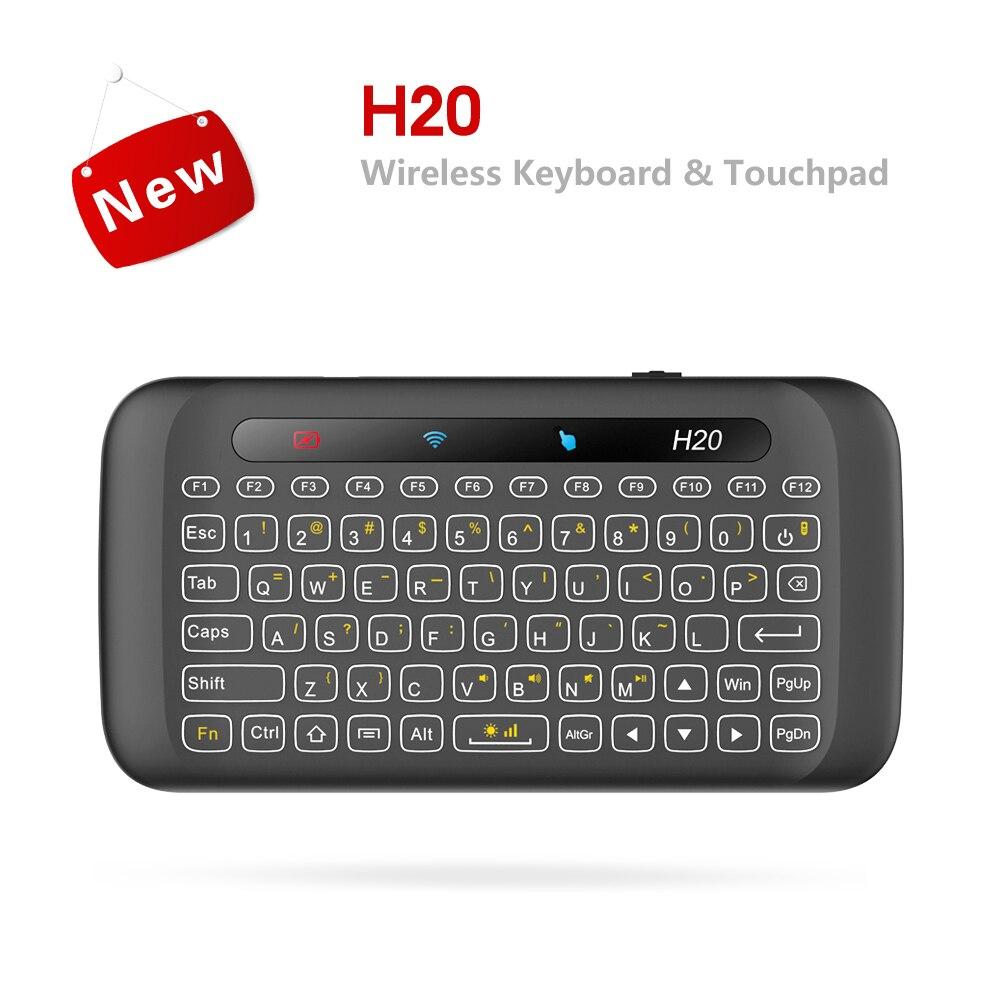 Mini teclado remoto inalámbrico de 2,4G IR Leaning H20 con retroiluminado con LED, Touchpad multitáctil de Dupad Story para Android tv