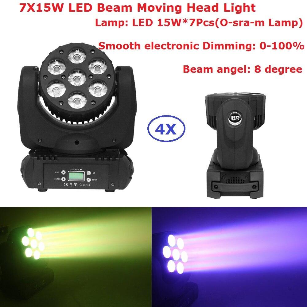 4 Pack más nuevo Led luces de haz de cabeza móvil 7X15W RGBW luces de escenario profesional haz de 8 grados DJ efectos de haz de discoteca DMX