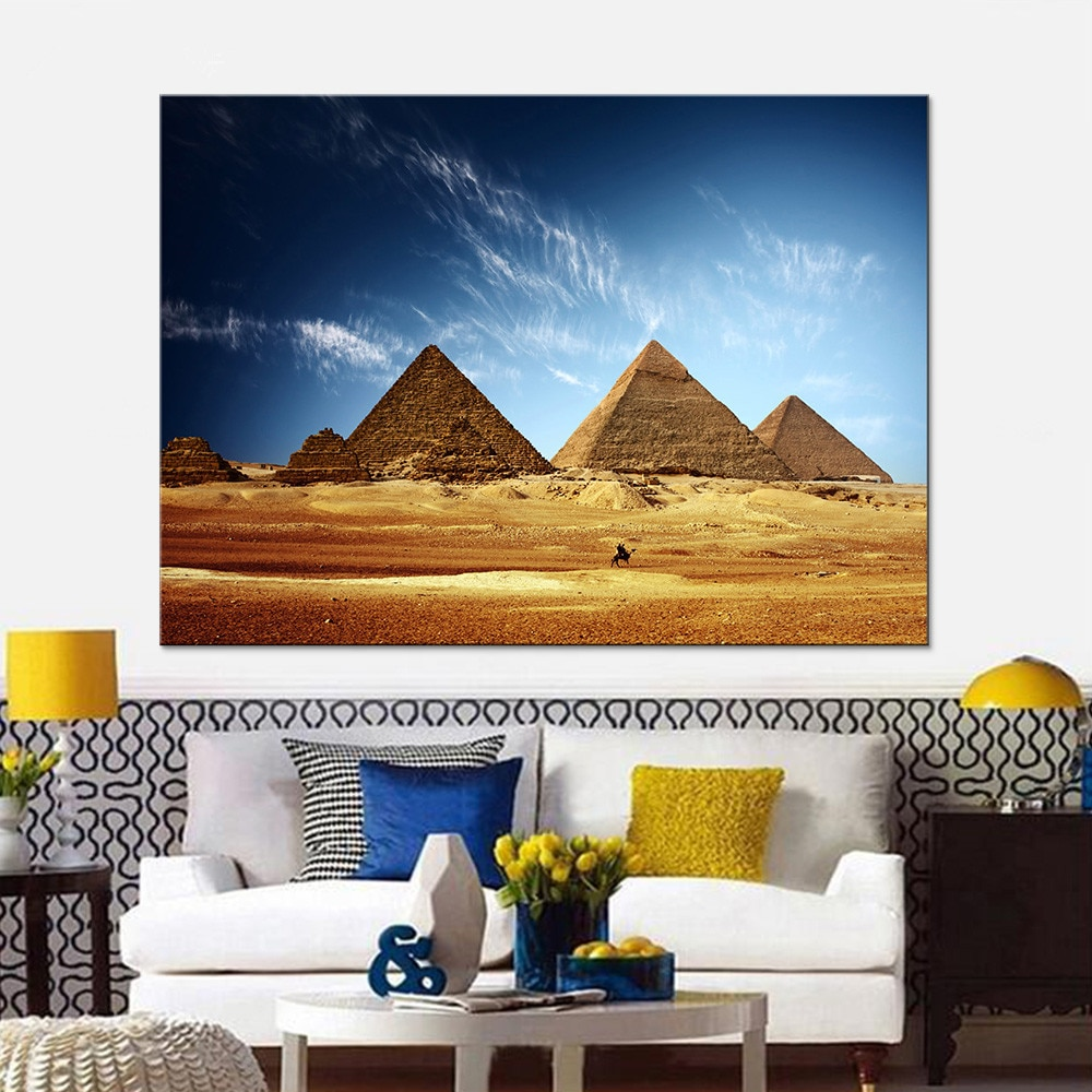 1 Uds., imagen impresa en HD de pirámide egipcia fascinante, arte de pared, decoración del hogar, póster, pintura en lienzo, decoración de habitación de bebé niña