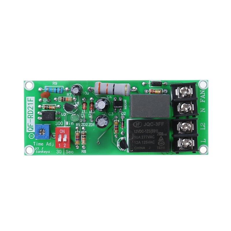 Módulo de relé de Control de temporizador ajustable de 100V-220V CA, placa de interruptor de retardo de apagado para ventilador de escape