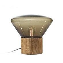Nordique tchèque pin verre lampe de table chambre chevet bureau lampe bois base salon étude
