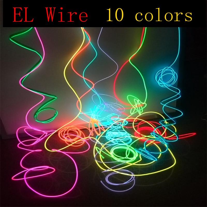 1M/2M/3M/5M/10M Neon Light Dance Party Decor Light Neon LED lamp Flexible EL Wire Rope Tube Waterpro
