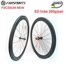 Interne Téton! Roues de biycle de pneu de carbone de Farsports de 50mm de profondeur rayons de Sapim cx-ray dedhub 1330g roues de route