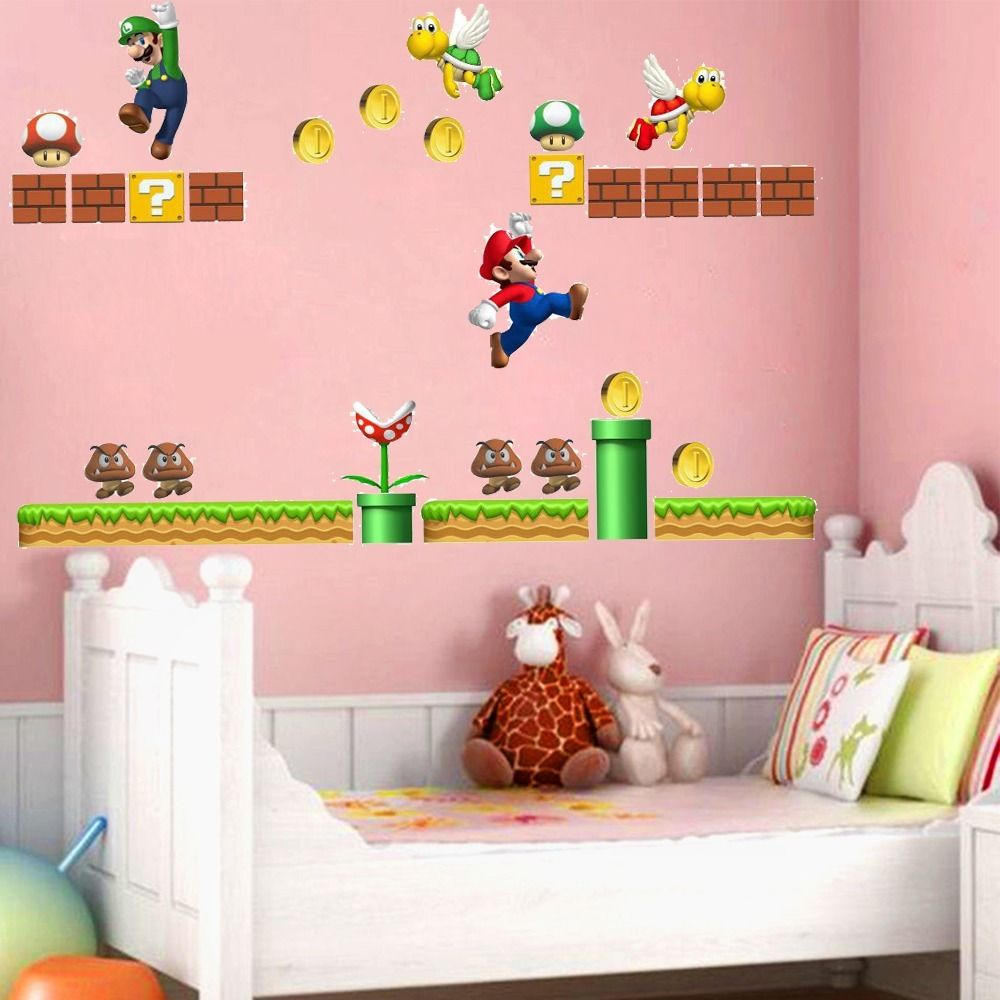 Natürlich Super Mario Amovible Autocollant Wandbild Kunst Vinyle Enfants Decor Nurserie