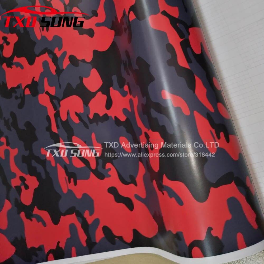 O envoltório vermelho do vinil da camuflagem preto & vermelho camo do carro do vinil envolve o veículo do dreno de ar do envoltório pequeno design vermelho camo tamanho do vinil 1.52*30 m/rolo