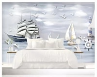 beibehang modern wallpaper embossed three dimensional nautical sailing 3d bedroom living room background wall papers home decor