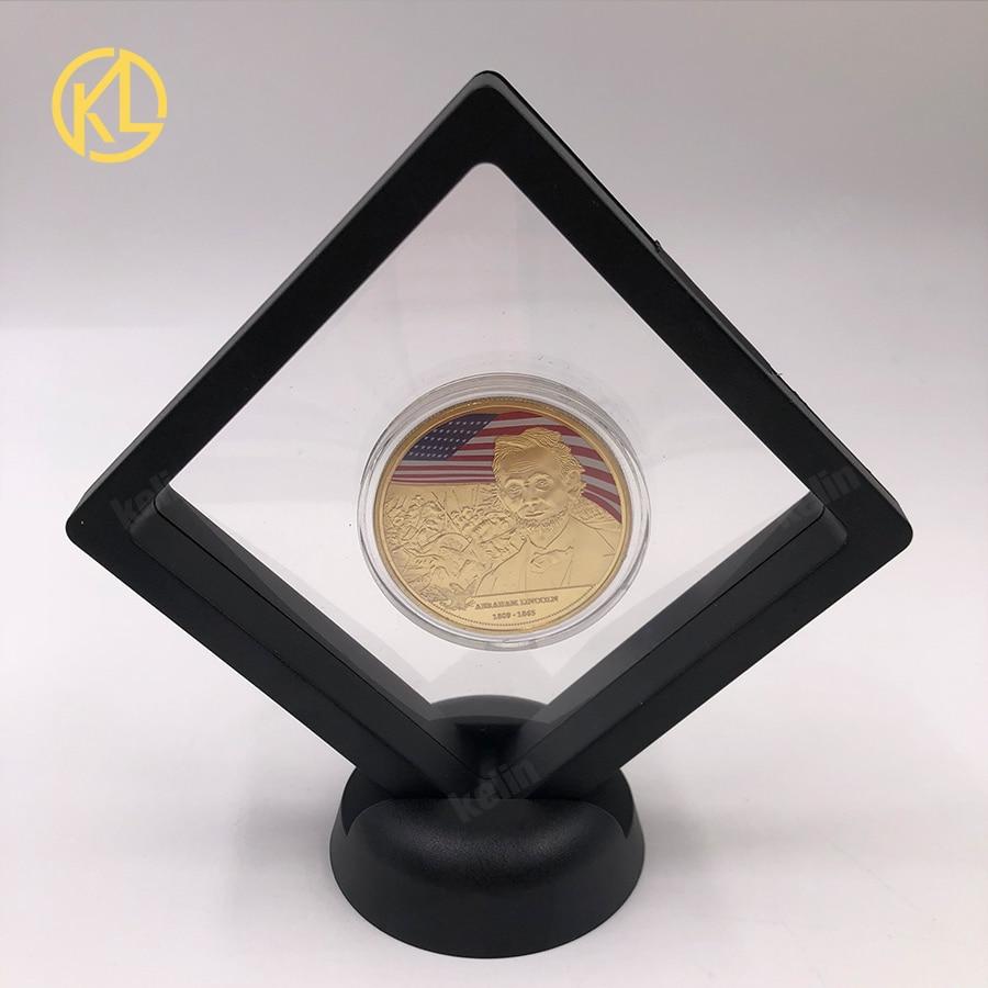 Alta calidad 16th presidente de EE. UU. Abraham Lin coln chapado en oro Bitcoin diseño personalizado Moneda de desafío con soporte