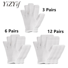 Reusable White Cotton Gloves Thin Elastic Soft Gloves for Dry Hand Moisturizing Cosmetic Eczema Hand