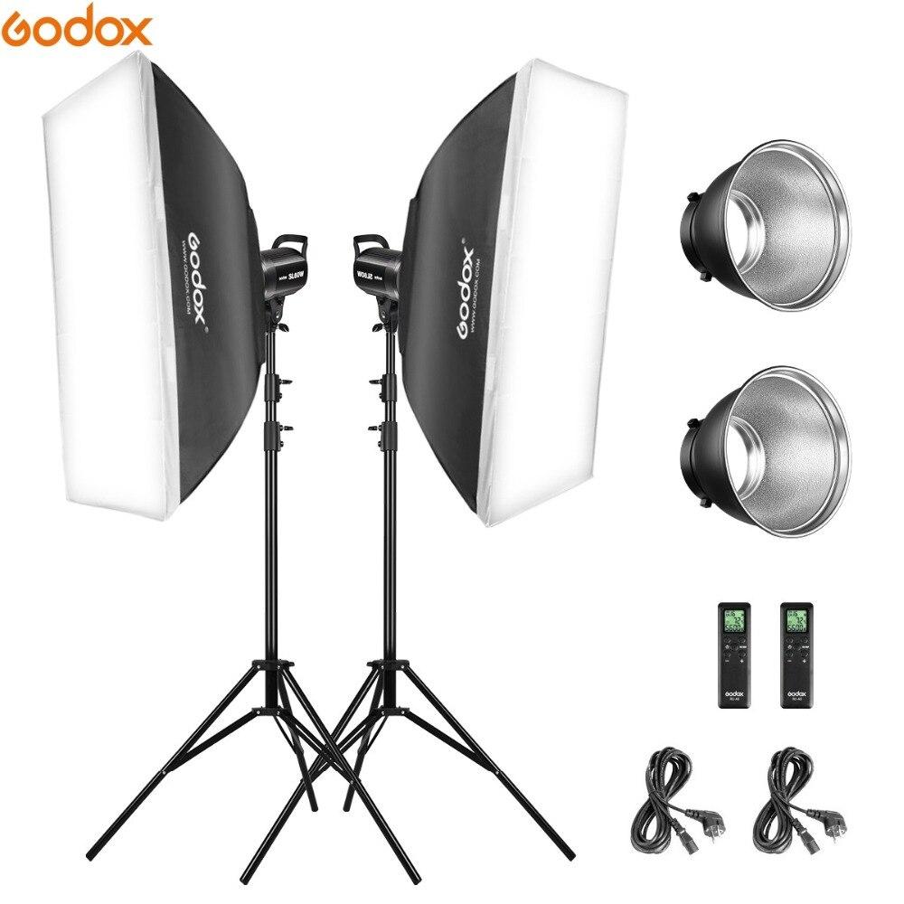Godox 2 * SL-60W 60Ws 5600K estudio LED continua foto estudio Video luz + 2*1,8 m Luz soporte + 2*60x60cm Softbox Kit de luz LED